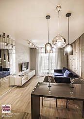 "ЖК ""Central park"" - modern apartment with loft elements. Loft Delicate Tiny Apartment by #DSAvtograf. Modern living room using Urban Indastrial Decor. Modern light. Wooden floor.   #dsavtograf #kyivdesign #design #interior #interiordesign #loft #urb"