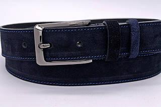 Ремень синего цвета из натуральной замши с синей ниткой