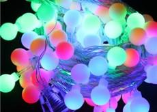 Новогодняя гирлянда 10 метров шарики 18мм многоцветная