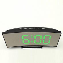 Часы зеркальные настольные с термометром LED для дома и офиса DT-6507 Черные