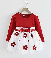 Нарядное пышное платье  красное для маленьких принцесс для девочки на 1, 2 года