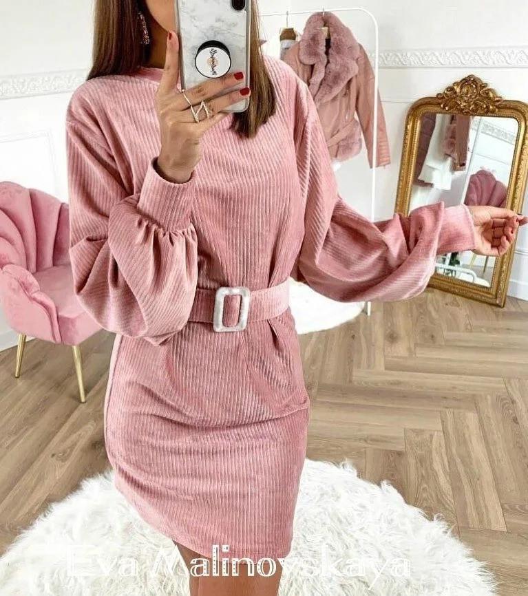 Ультрамодное  платье из вельвета с пояском 42-48рр.( 4 цвета)