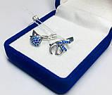 Срібні сережки з синіми цирконами Love, фото 2
