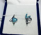 Срібні сережки з синіми цирконами Love, фото 4