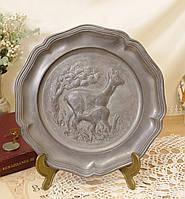 Старая настенная оловянная тарелка, олово, Германия, охота, фото 1