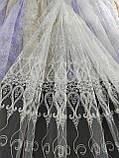 Тюль с вышивкой шнуром корд на фатиновой основе на метраж и опт Белая,молочная, фото 5