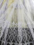 Тюль с вышивкой шнуром корд на фатиновой основе на метраж и опт Белая,молочная, фото 3