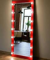 Гримерное дзеркало в повний зріст без підставки з підсвічуванням з лампами 180*80 див. Червоне ЛДСП