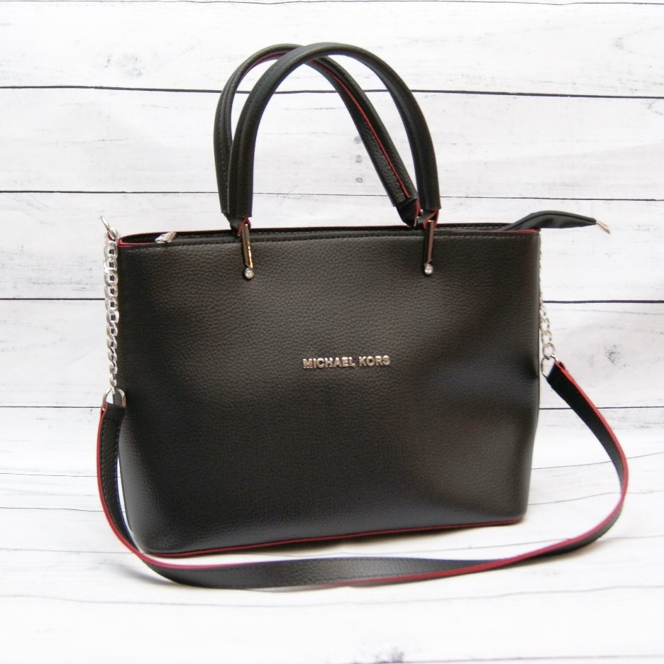 Женская сумка Mісhаеl Коrs, в стиле Майкл Корс MK, черная с красным