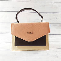 Женская mini сумка Zara, бежевая с персиковым, фото 1