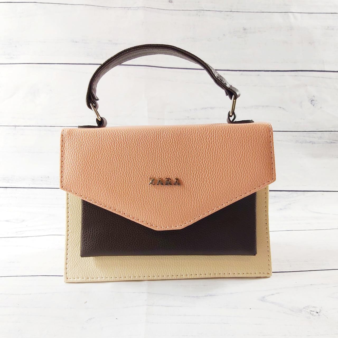 Женская mini сумка Zara, бежевая с персиковым