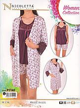 Пижама с шортами и халатом,Nikoletta
