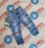 Детские джинсы для девочки  с нашивками оптом JOY
