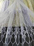 Тюль с  вышивкой шнуром корд на фатиновой основе на метраж и опт Белая,молочная,крем с золотом, фото 2