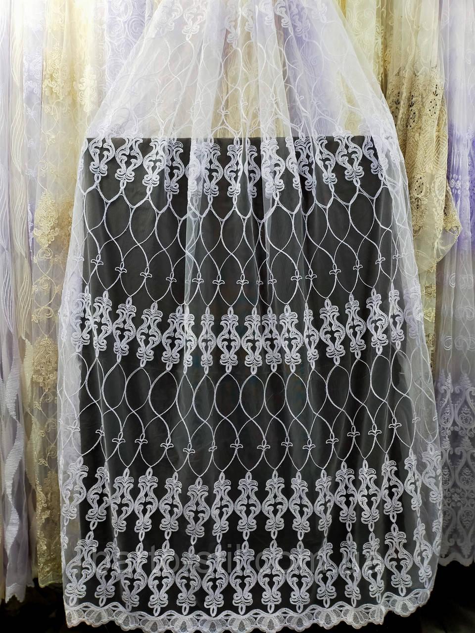 Тюль с  вышивкой шнуром корд на фатиновой основе на метраж и опт Белая,молочная,крем с золотом
