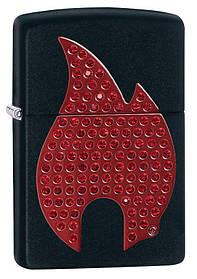 Зажигалка бензиновая zippo 29106 emblem flame black matte