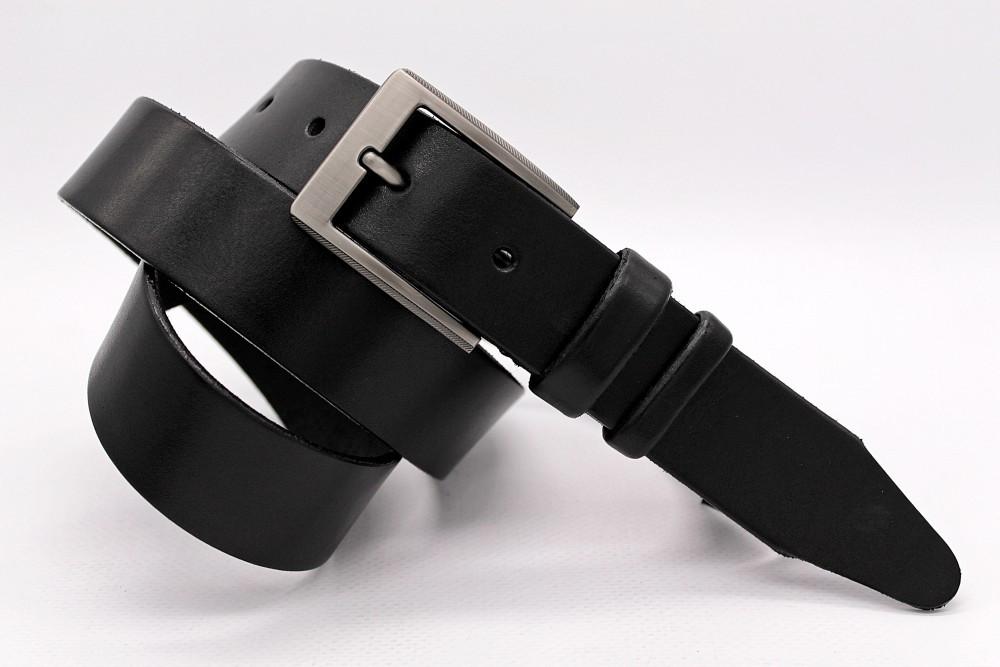 Ремінь чорного кольору з натуральної шкіри Лаз.160