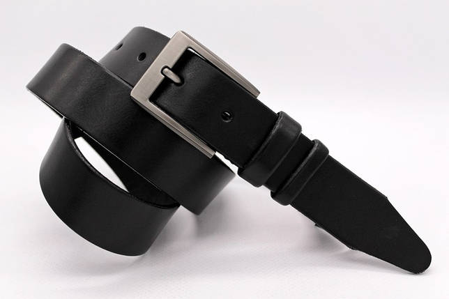 Ремінь чорного кольору з натуральної шкіри Лаз.160, фото 2