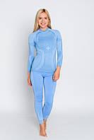 Комплект женского термобелья с шерстью мериноса HASTER MERINO WOOL зональное бесшовное шерстяное XS, Синий