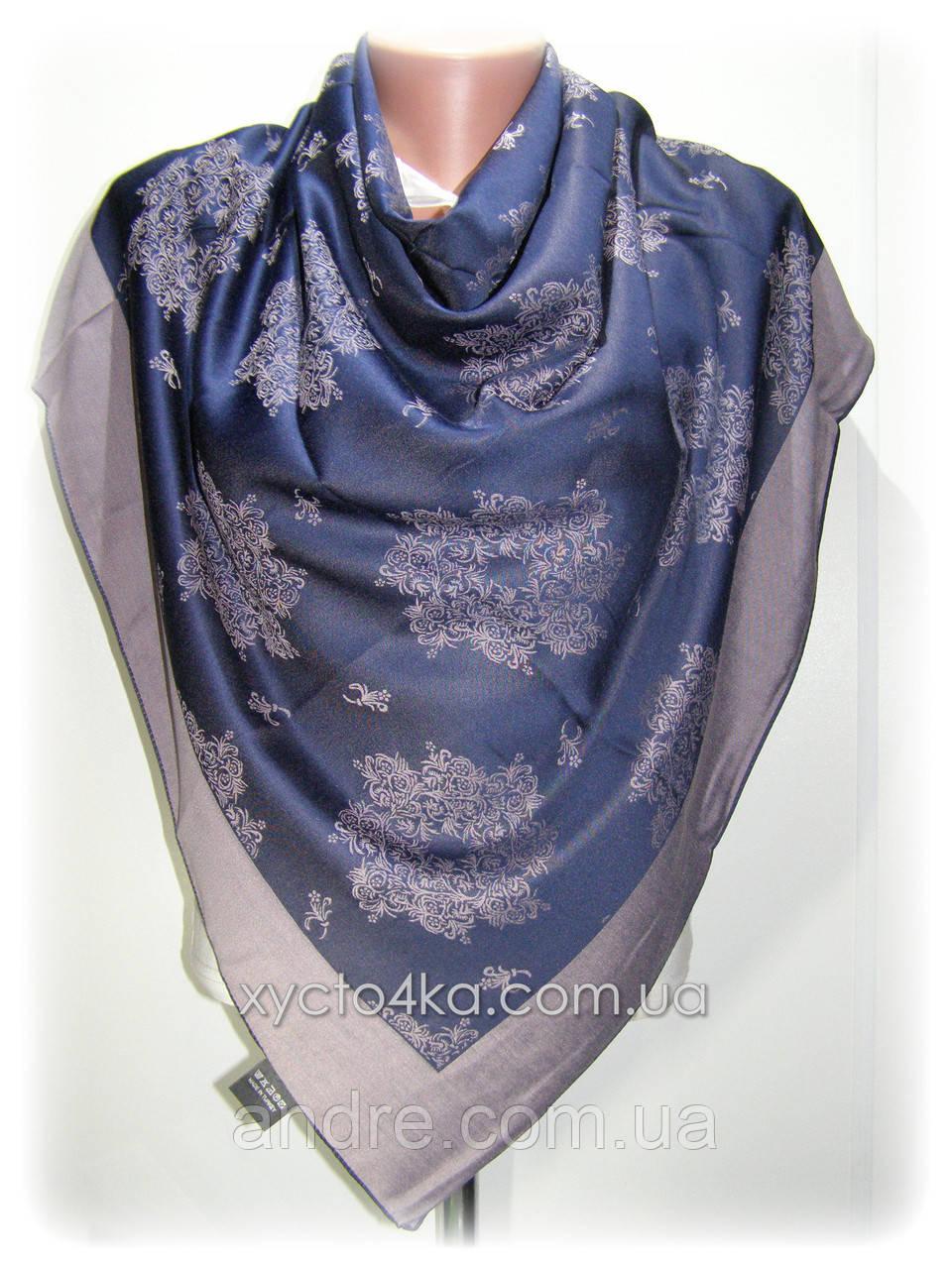 Двусторонний шелковый платок Хамелеон, тёмно синий