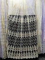 Бежевая тюль с вышивкой люрэксной ниткой и шнуром корд на фатине На метраж и опт, фото 1