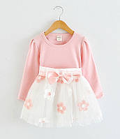 Нарядное пышное платье персиковое с розовым для маленьких принцесс для девочки на 1, 2, 3 года