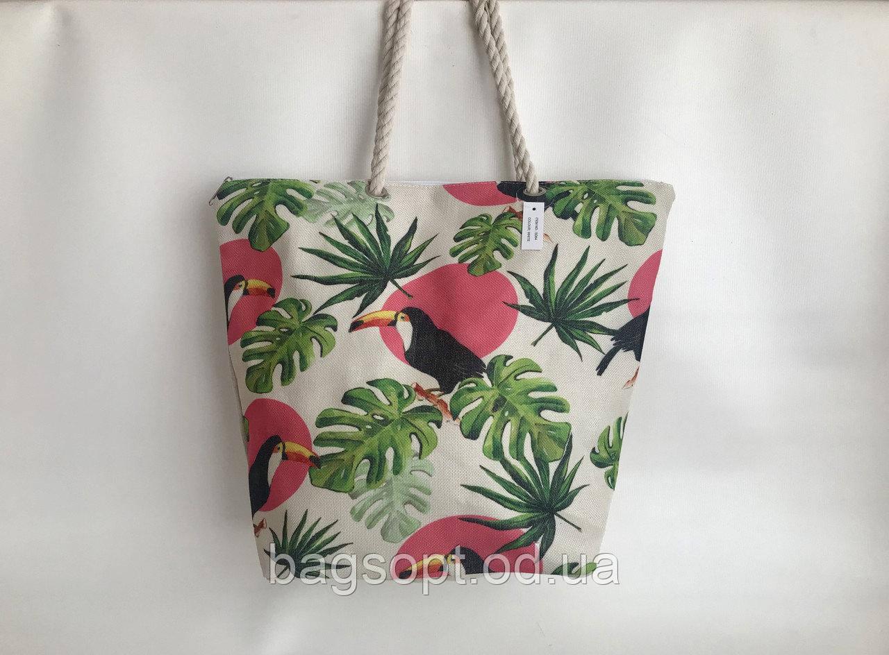 Пляжная женская сумка из ткани(льняная) с рисунком Туканы канатные ручки