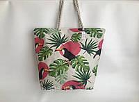 Пляжная женская сумка из ткани(льняная) с рисунком Туканы канатные ручки, фото 1
