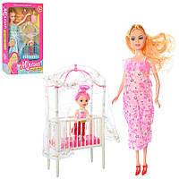 Кукла 2912 (90шт) беременная27см,с дочкой10см,наряд,пупс,кроватка,2цвета,в кор-ке,33-19-6см