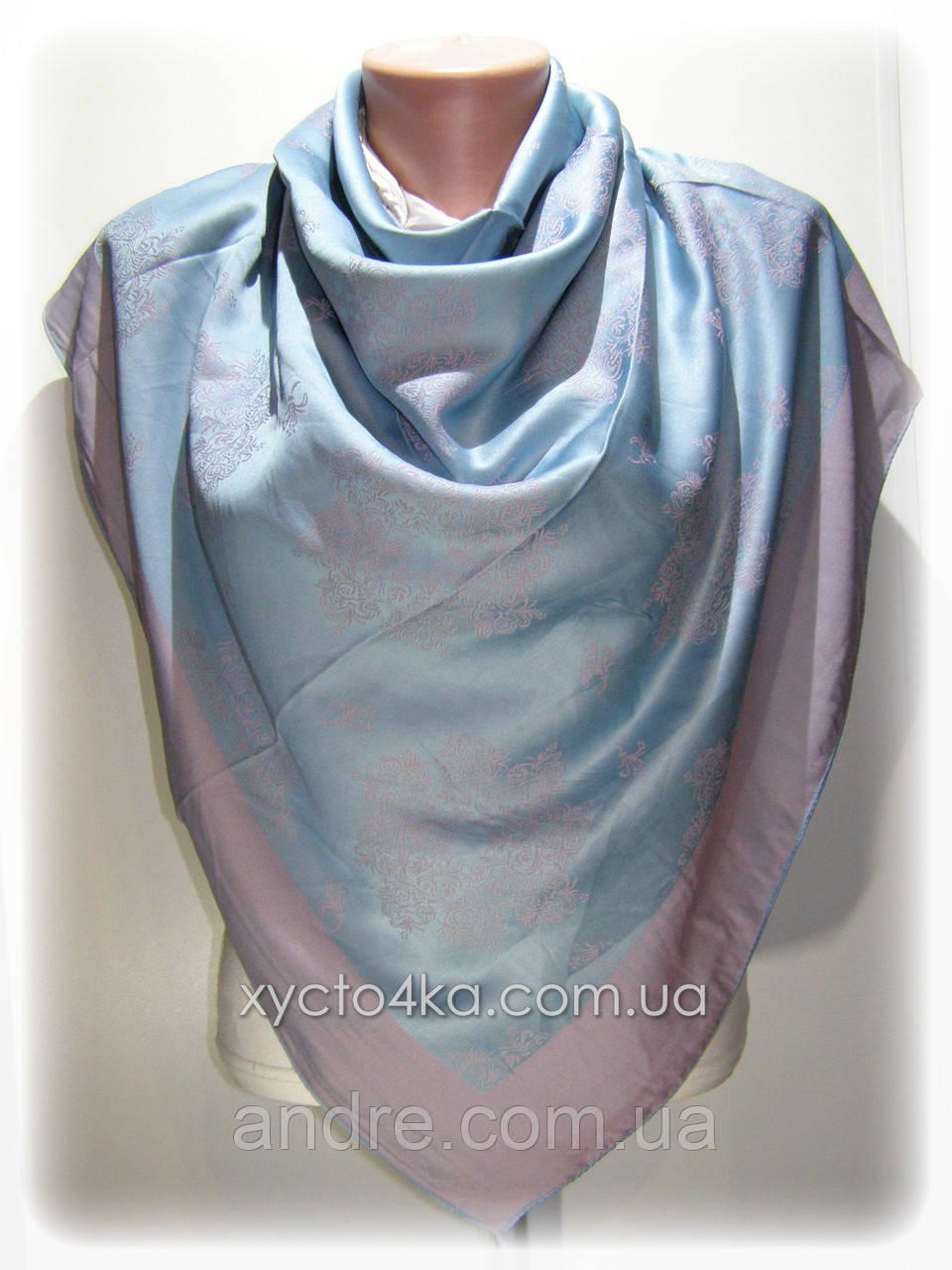 Двусторонний шелковый платок Хамелеон, бирюзовый с розовым