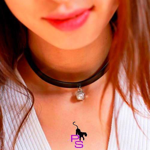 """Изящный аксессуар виниловый чокер ожерелье медальон ошейник ошейничек лента шнурок пояс Бе9 """"Бусинка""""8265"""