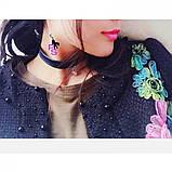 """Изящный аксессуар виниловый чокер ожерелье медальон ошейник ошейничек лента шнурок пояс Бе9 """"Бусинка""""8265, фото 3"""