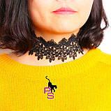 """Шикарный ажурный кружевной чокер ожерелье медальон ошейник ошейничек пояс лента шнурок Бе9 """"Роза""""8290, фото 3"""