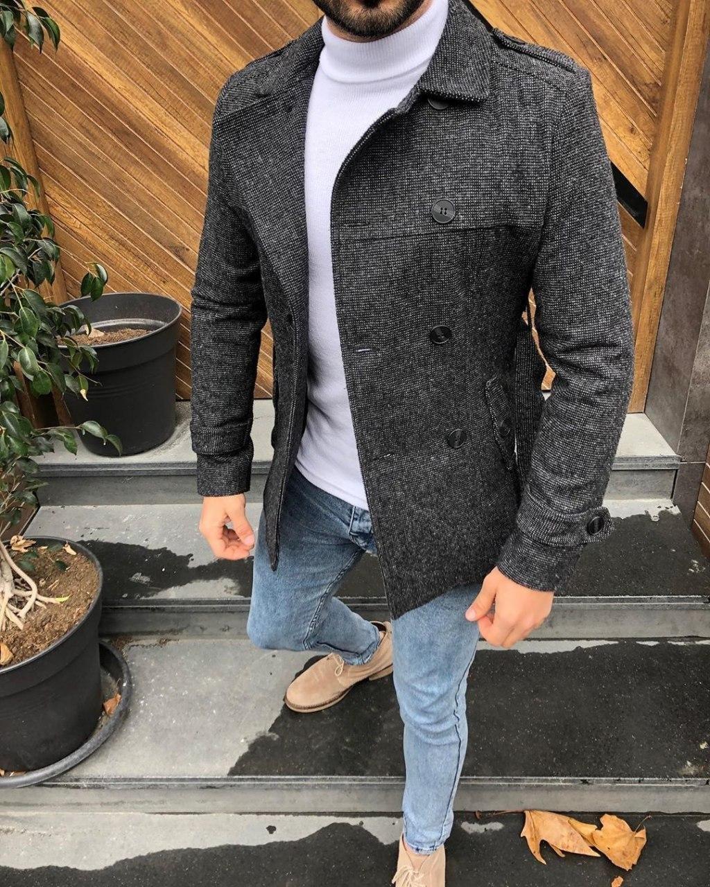 😜 Пальто - Мужское пальто темно-серого цвета