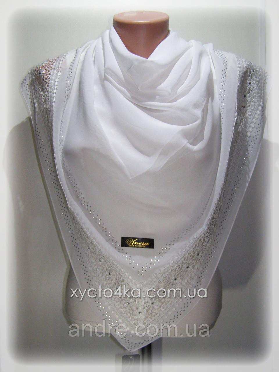 Нарядные шифоновые платки Глория, белый