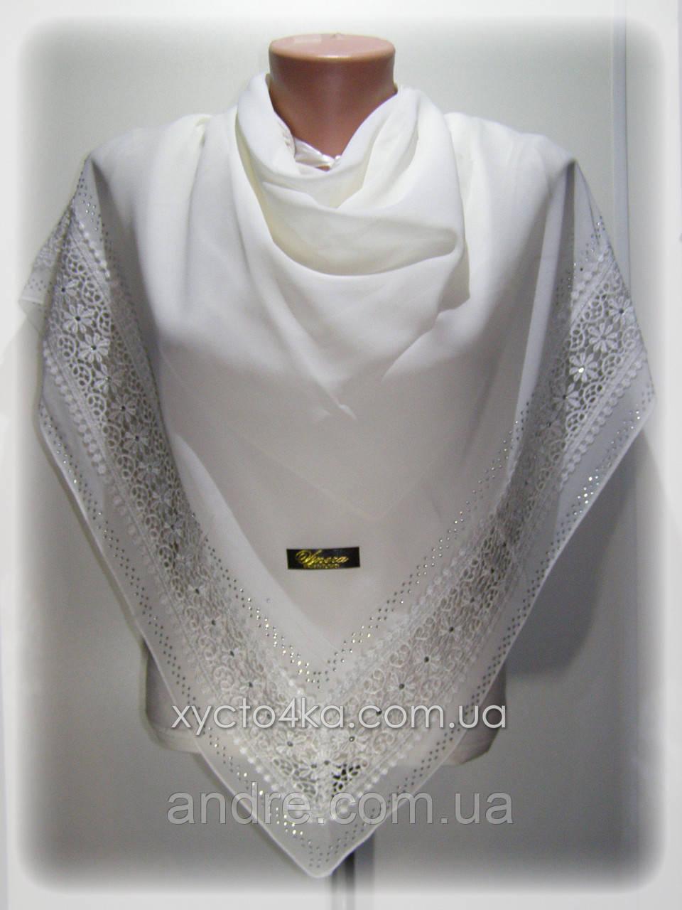 Нарядные шифоновые платки Глория, молочный или кремовый