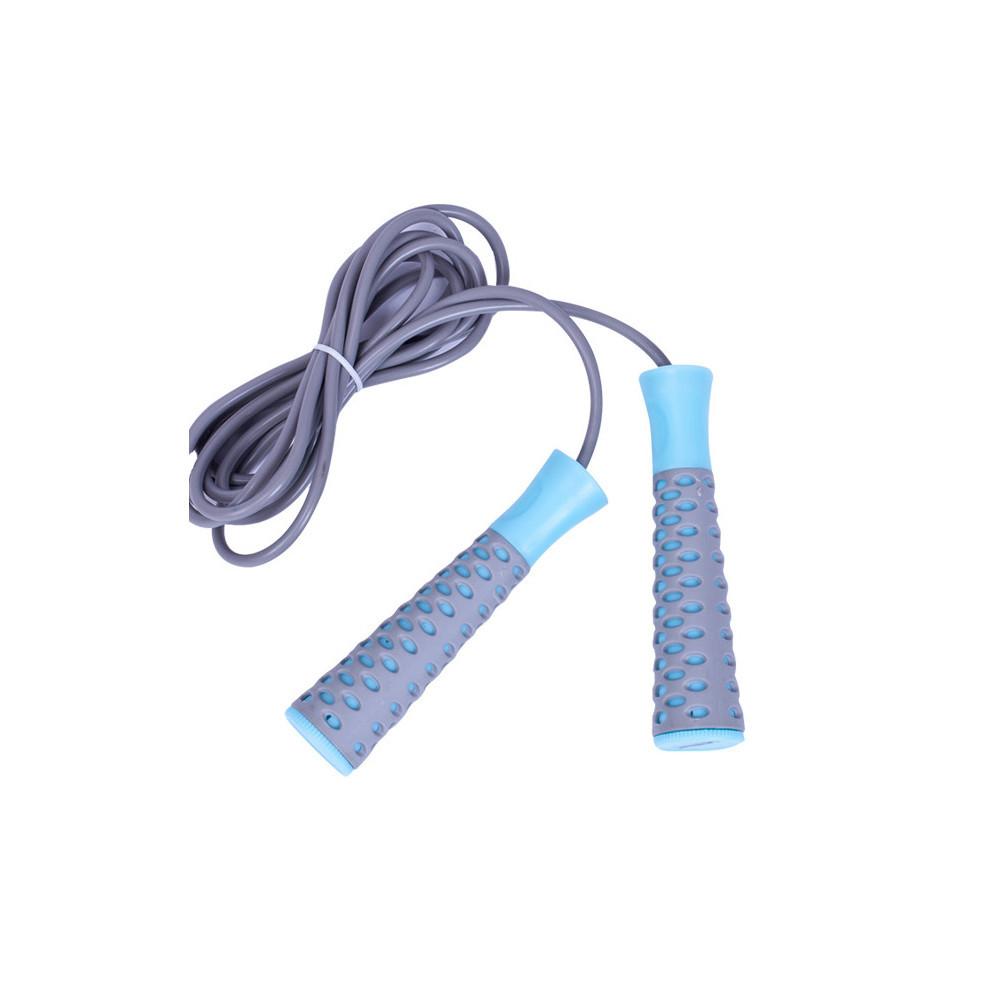 Скакалка LiveUP PVC JUMPROPE серый-голубой
