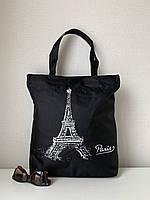 Черная тканевая сумка шоппер из ткани молодежная, фото 1