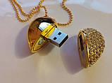 Флешка у вигляді серця 32 Гб USB 3.0 швидкісна золота з камінням і ланцюжком є ОПТ, фото 4