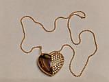 Флешка у вигляді серця 32 Гб USB 3.0 швидкісна золота з камінням і ланцюжком є ОПТ, фото 5