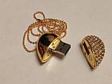 Флешка у вигляді серця 32 Гб USB 3.0 швидкісна золота з камінням і ланцюжком є ОПТ, фото 6
