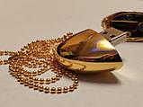 Флешка у вигляді серця 32 Гб USB 3.0 швидкісна золота з камінням і ланцюжком є ОПТ, фото 7