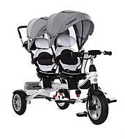 Велосипед трехколесный для двойни M 3116TWА-19, колеса резина.