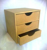 Комод Виктория на 3 ящика 22х22х22 см МДФ заготовка для декора
