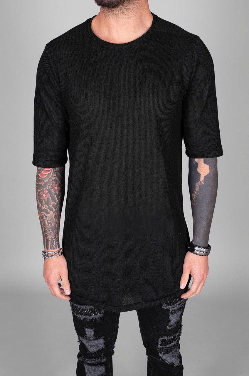 😜 Футболка - Мужская футболка удлиненная черная с замком сбоку
