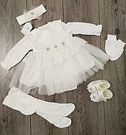Детский нарядный комплект  для новорожденных  для девочки размер 56 на 0-3 месяца Турция