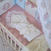 Конверт-плед Elegance резинка с бантом молочный
