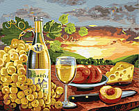 Картина по номерам 40*50см. Белое вино с фруктами GX24252 Brushme