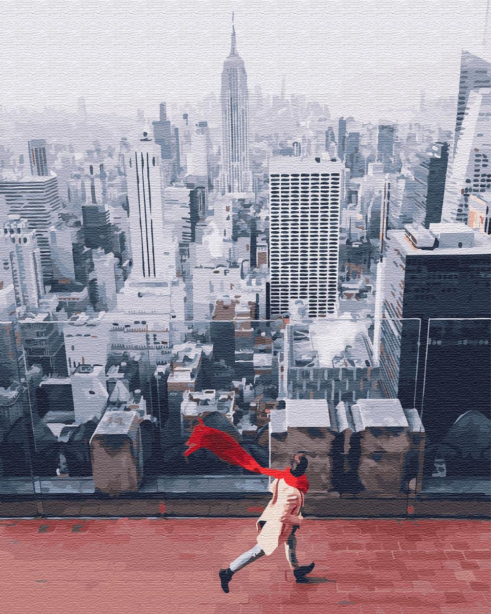 Картина по номерам 40*50см. Красный шарф в нью йорке GX26281 Brushme