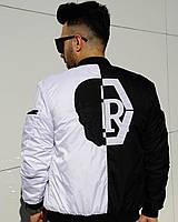 Бомбер - дизайнерская мужская куртка-бомбер черно-белая